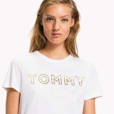 トミーヒルフィガーtシャツ 2色選! オシャレ ファッション 白黒選択★新作
