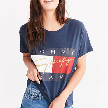 トミーヒルフィガー新作 人気tシャツ 3色選! 男女兼用 金ロゴ 可愛い ファッション メンズ レディース