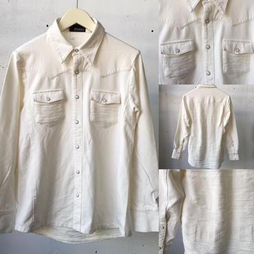 fuzzy カットデニム×ニット切り替えシャツ