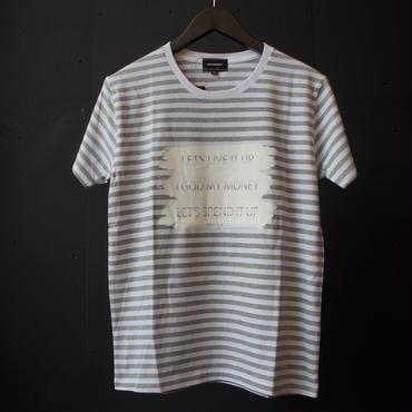 MAD HOUND Brush Frame Border T-Shirt WhitexGray