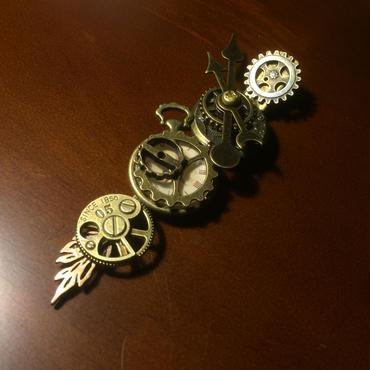 150727作。時計をモチーフにしたヘアクリップ