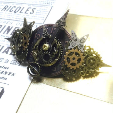 RENEW/160926 蝶々と時計の針に飾りを付けたバレッタno.7