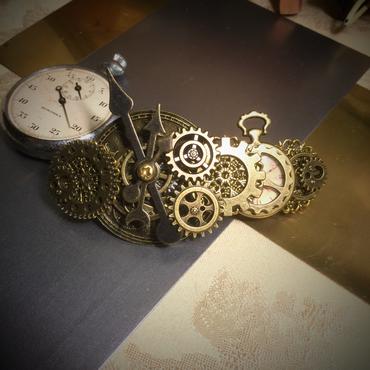 再販160226 時計の文字盤と懐中時計のバレッタno.12/スチームパンク