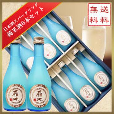 【限定販売】雁木 日本酒スパークリング 純米酒 6本セット 28BY:無濾過生原酒 300ml