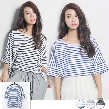 ボーダープルオーバーTシャツ 3color