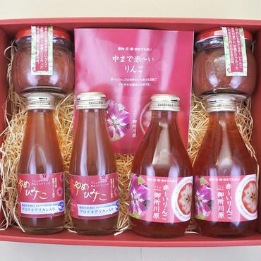 ●中まで赤〜いりんごジャム 100g╳2 ●中まで赤〜いりんごジュース 小瓶180ml╳2 ●ゆめひみこ100ml╳2