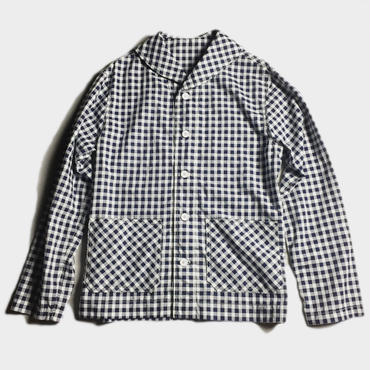 SHAWL COLLAR GINGHAM COVERALL