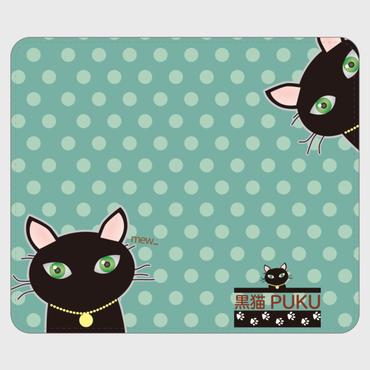 黒猫PUKU 手帳型帯なしandroidケースblue×green水玉