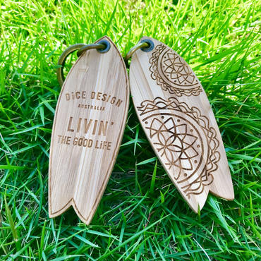 "Bamboo Key ring / Key holder (Retro fish 3.5"")"