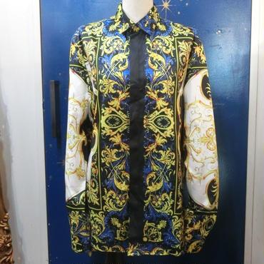 KS-CS033 ロココスカーフ柄プリントシャツ<BLU/M>