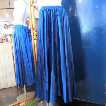 ELF-D16 カラーサテンロングスカート<BLU>