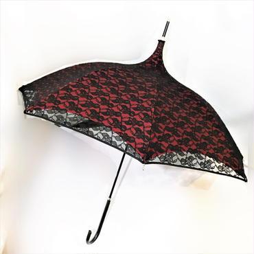 KKS.357150 晴雨兼用レース重ねパゴダ傘<RED>