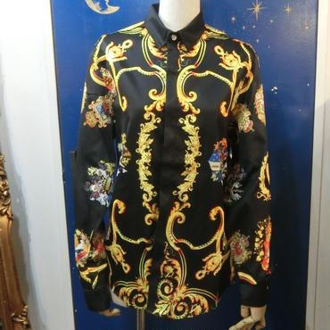KS-CS019 ロイヤルプリントシャツ<BLK/M>