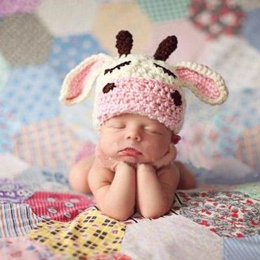 新生児ー1才対応 うし ニット帽子 コスチューム