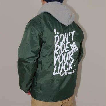 【完売】コーチジャケット『DON'T RIDE YOUR LUCK』ダークグリーン×ホワイト