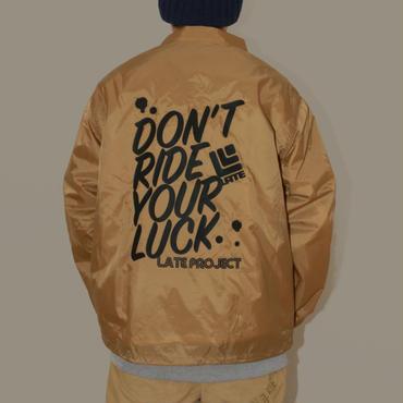 コーチジャケット『DON'T RIDE YOUR LUCK』ベージュ×ブラック