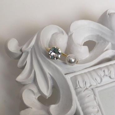 Imitation pearl gold ring