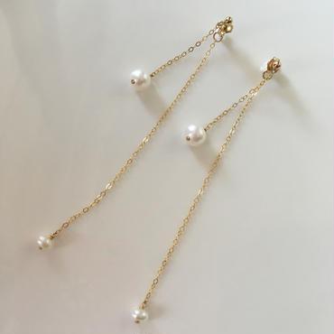 14kgf  freshwater pearl  long  chain  pierce