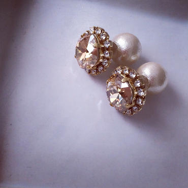 Cottonpearl Catch Pierced earring gold