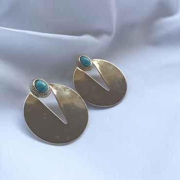 turquoise gold pierce earring