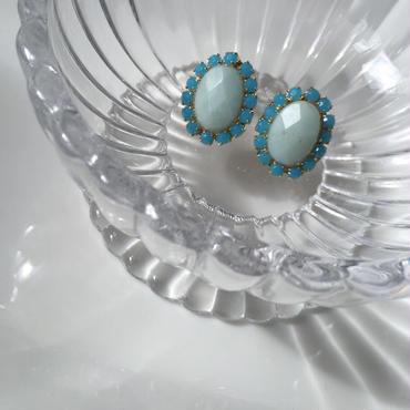 Turquoise stone pierce earring