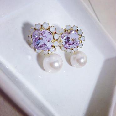 Two-way purple pierced earring