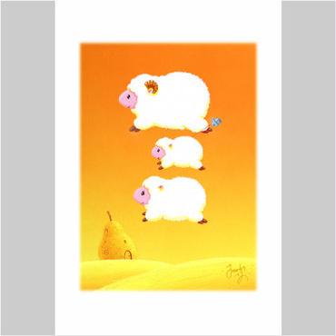 「ひつじさんの幸せの風船」ポストカード