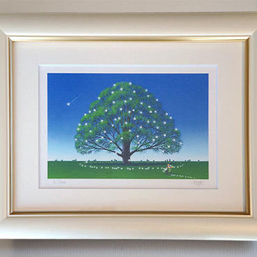 ☆版画「夢見る樹」