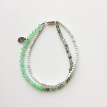 グリーン×白/天然石3カラーブレスレット
