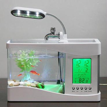 USB接続 デスクトップ型 水槽 アクアリウム LEDライト ペン立て LED 時計 インテリア