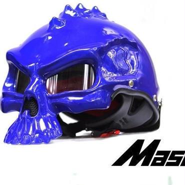 ドクロ スカル スタイル ヘルメット 半ヘル スノボ スノーボード ハーフ バイク キャップ おもしろ 目立つ M L XL  ブルー