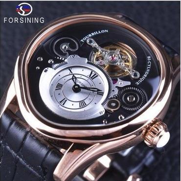 Forsining 自動巻き 機械式腕時計 トゥールビヨン ステンレス スケルトン 革バンド ブラック・ローズゴールド
