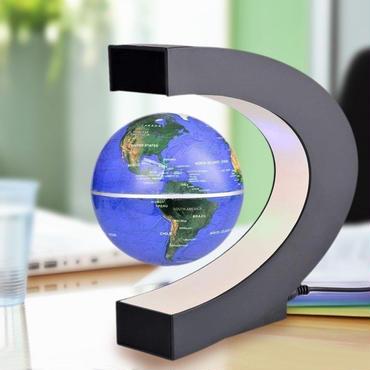 磁気 地球儀 マグネットグローブ 浮遊 回転型 磁気浮上 世界地図 LEDライト インテリア