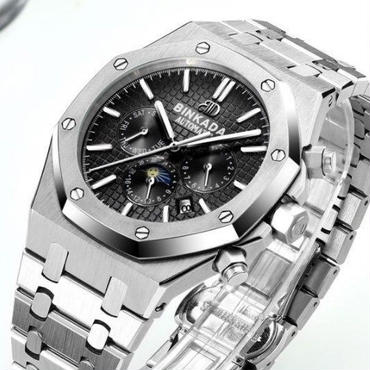 海外限定モデル★BINKADA海外高級ブランド輸入腕時計 機械式クロノグラフ コンプリートカレンダー サファイアガラス