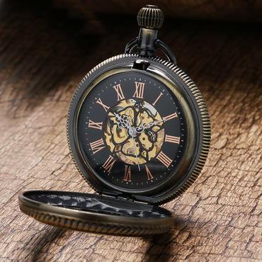 ホロー ガラス スケルトン 機械式 懐中時計 レトロ ヴィンテージ アンティーク クォーツ 高精細