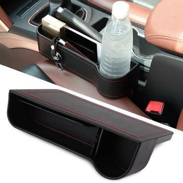レザー シートサイド 収納 ドリンクホルダー 付き ポケット コンソール ボックス 小物入れ カップホルダー 多機能 トレイ