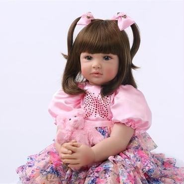 リボーンドール ピンク花柄ドレス 2つ結びの女の子 プリンセスドール トドラー人形 赤ちゃん人形 ベビードール