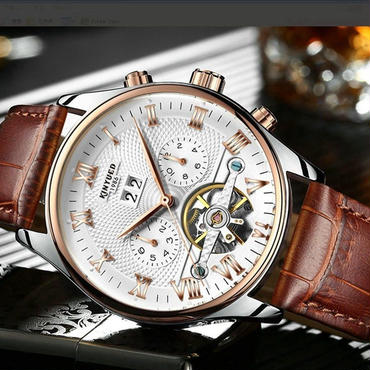 Kinyued 012 レザー トゥールビヨン スケルトン 海外人気ブランド 機械式腕時計 自動巻き ホワイト×ブラウン