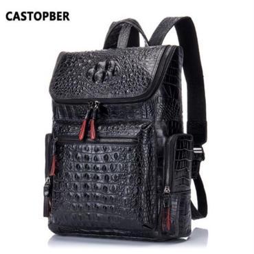 本革 メンズ バックパック リュックサック クロコダイル型押 学生 旅行 バッグ たっぷり収納