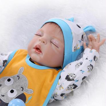 リボーンドール ベビー人形 ベビードール 抱き人形 シリコン お風呂可能♪ 高級海外ドール 約55cm 男の子 安らか寝顔