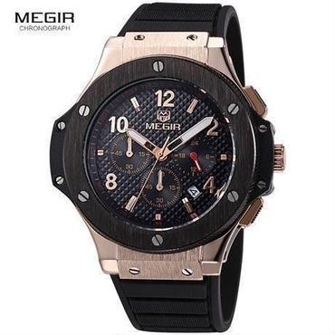 ウブロ好きにおすすめデザイン MEGIR メンズ腕時計 ビッグバンタイプセラミック調ベゼル ラバーバンド クォーツ クロノグラフ