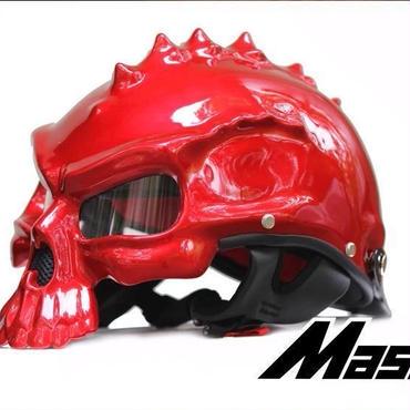 ドクロ スカル スタイル ヘルメット 半ヘル スノボ スノーボード ハーフ バイク キャップ おもしろ 目立つ M L XL レッド艶あり