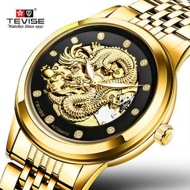 海外高級ブランド 高級自動巻き 腕時計 オートマティック スケルトン ドラゴン 防水 硬質ステンレス 昇龍