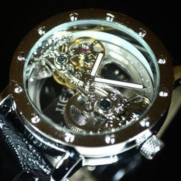 TIEDAN メンズ 機械式上時計 自動巻 スケルトン トゥールビヨン シルバー ブラック革バンド