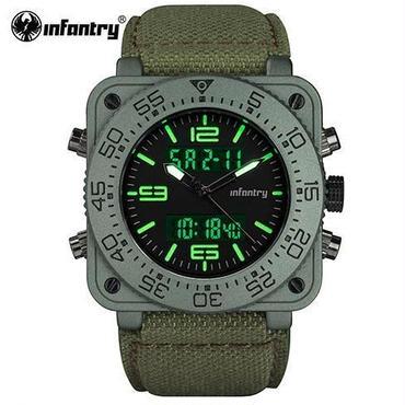 Infantry メンズ クォーツ腕時計 ミリタリー アーミー 防水 日付 led