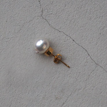 SU K18 pearls pierced earring 02  SLV+GLD