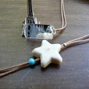 DANILA PARIS étoile クラシック 天然石 ネックレス  ベージュカラー  星のチャーム・スターチャーム