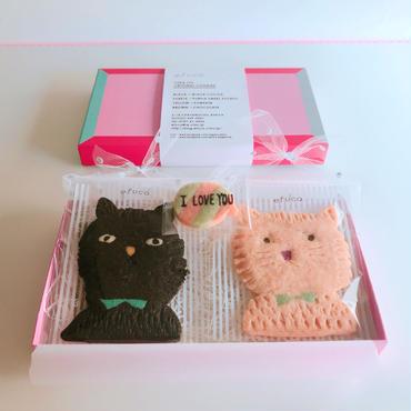 2/12発送:black &pinkブサネコ+メッセージクッキーセット(クッキー3枚、ギフトボックス入り)