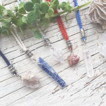 Gemstone / Cotton Code Necklace Silver Color