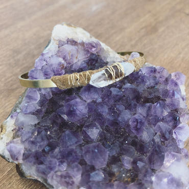 Gemstone/Leather Brass Bangle
